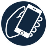 Icon of hand holding a cell phone. Click for link to connect with Social Work Tech