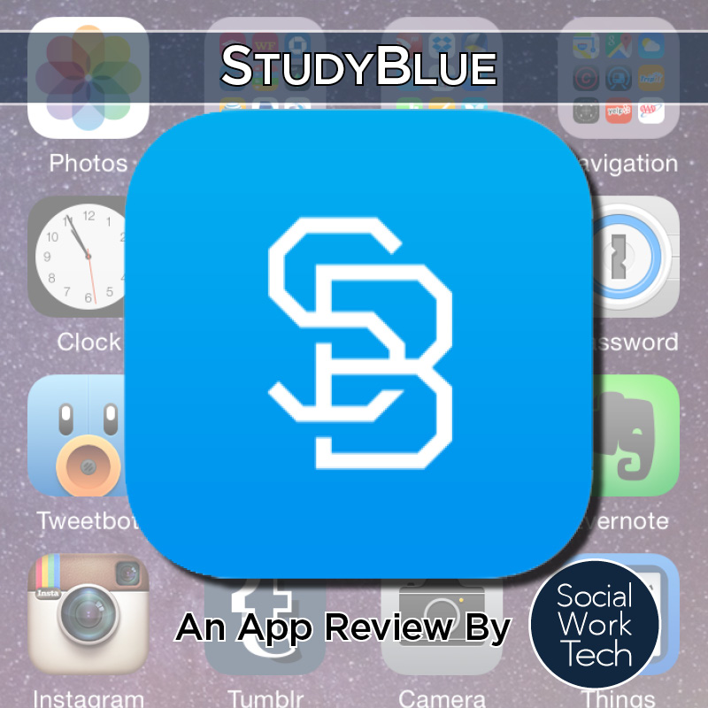 StudyBlue logo with text: StudyBlue - an app review by Social Work Tech