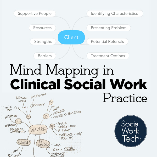 Background: a digital version of a mind map, a handwritten version of a mind map. Text: Mind Mapping in Clinical Social Work Practice. Logo: Social Work Tech